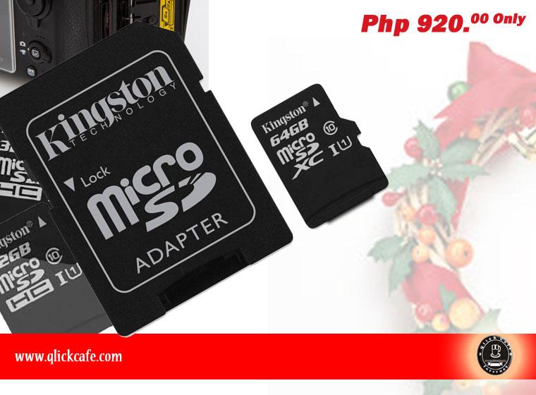 Kingston 64GB Class10 UHS-I microSD Card w/ Adapter – SDCX10/64GB