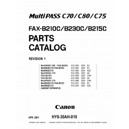 Canon FAX B210C B230C B215C Parts Catalog Manual