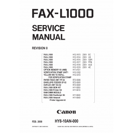 Canon FAX L1000 Parts and Service Manual