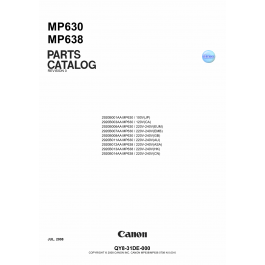 Canon PIXMA MP630 MP638 Parts Catalog Manual