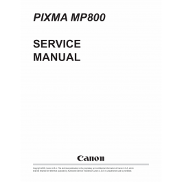 Canon PIXMA MP800 Service Manual
