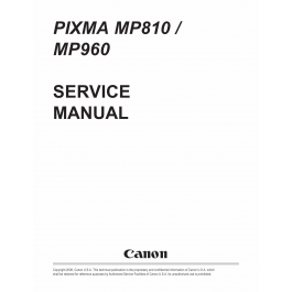 Canon PIXMA MP810 MP960 Service Manual