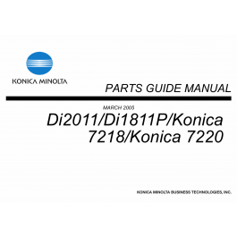 Konica-Minolta Options Di2011 Di1811P 7218 7220 Parts Manual