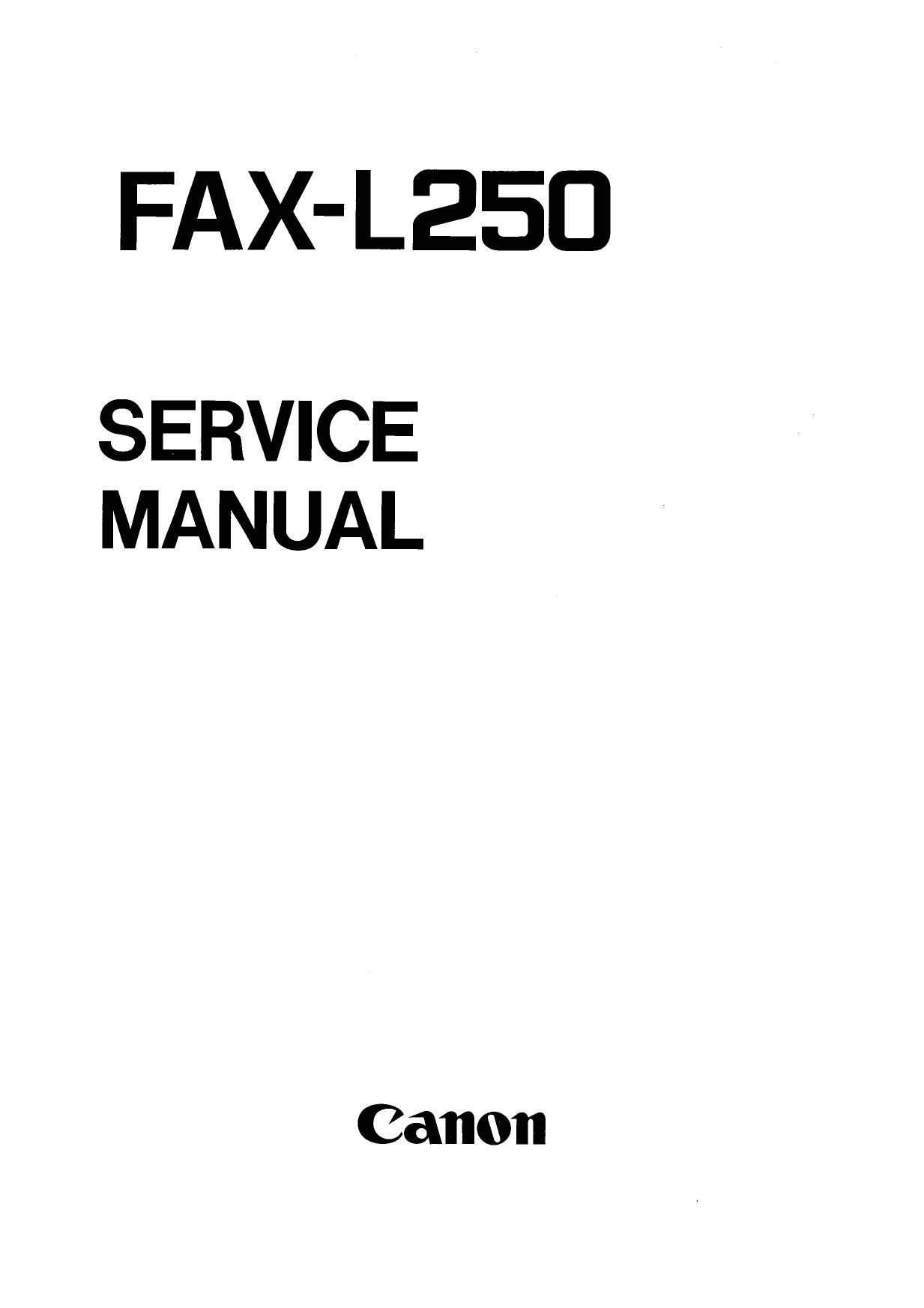 Canon FAX L250 Parts and Service Manual