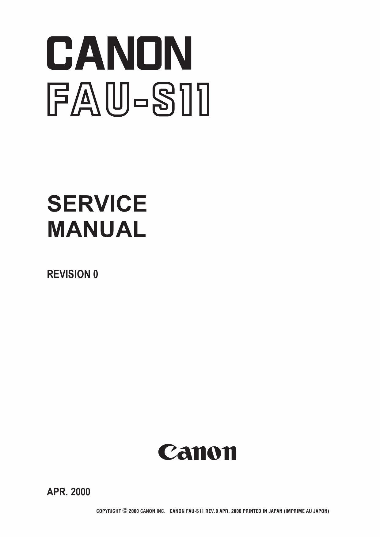 Canon Options FAU-S11 Film-Adapter-Unit-Service Manual