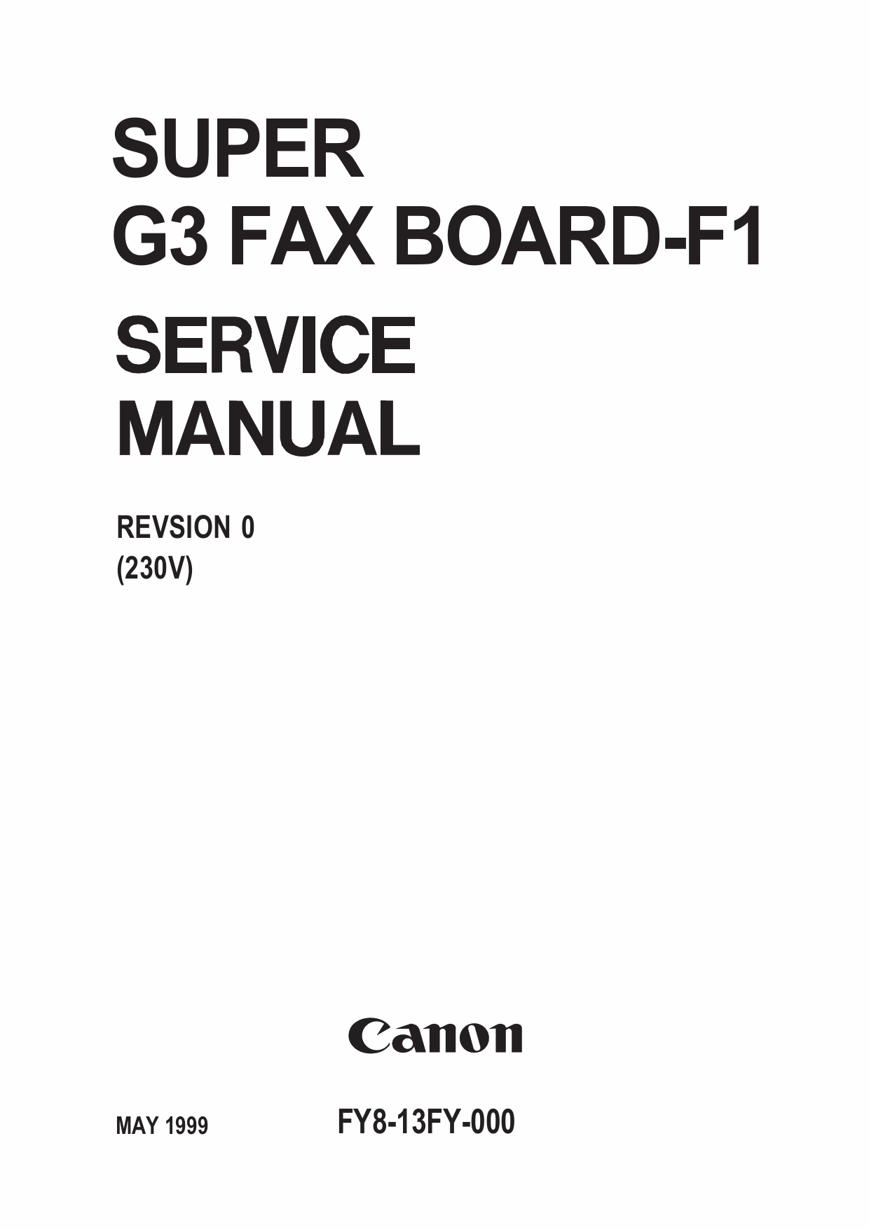 Canon Options Fax-F1 Super-G3 Fax-Board-F1 Service Manual