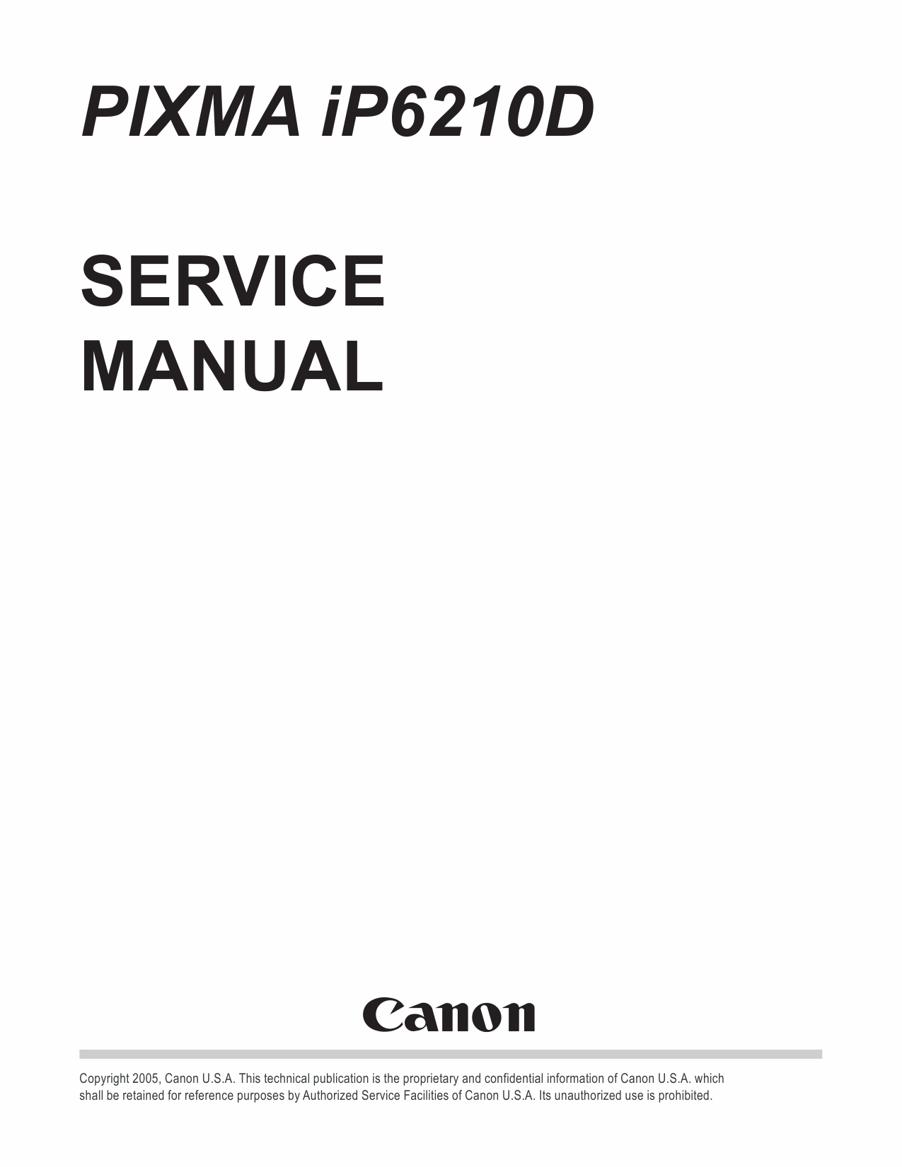 CANON PIXMA IP6210D IP 6210 D SERVICE & REPAIR MANUAL