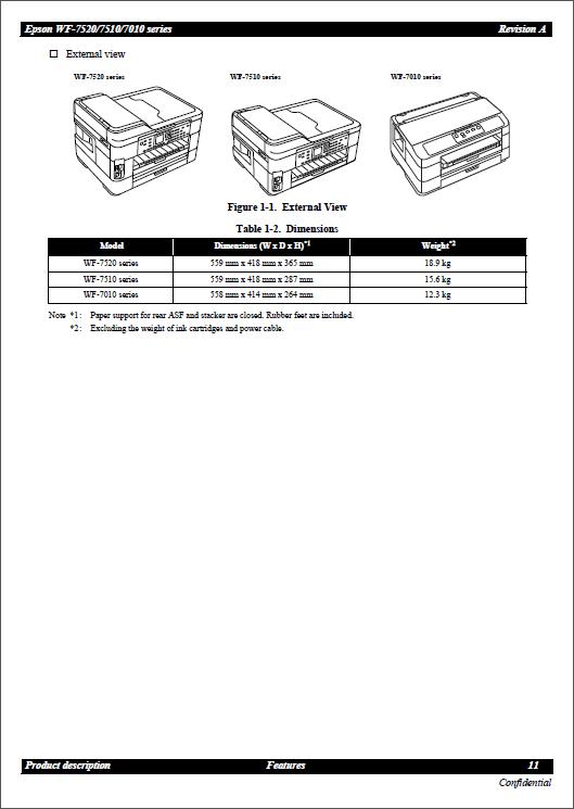 Epson WorkForce WF7010 7011 7012 7015 7018 7510 7511 7515