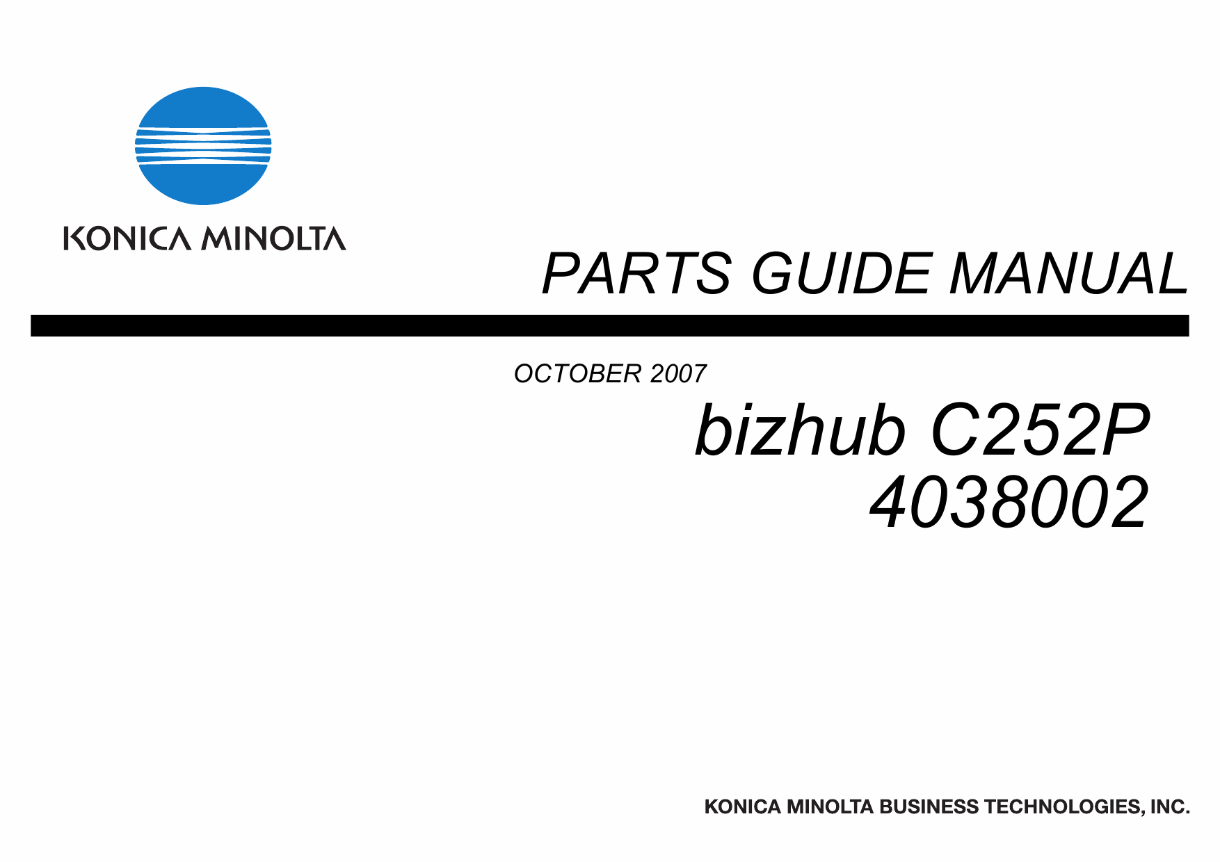 Konica-Minolta bizhub C252P Parts Manual