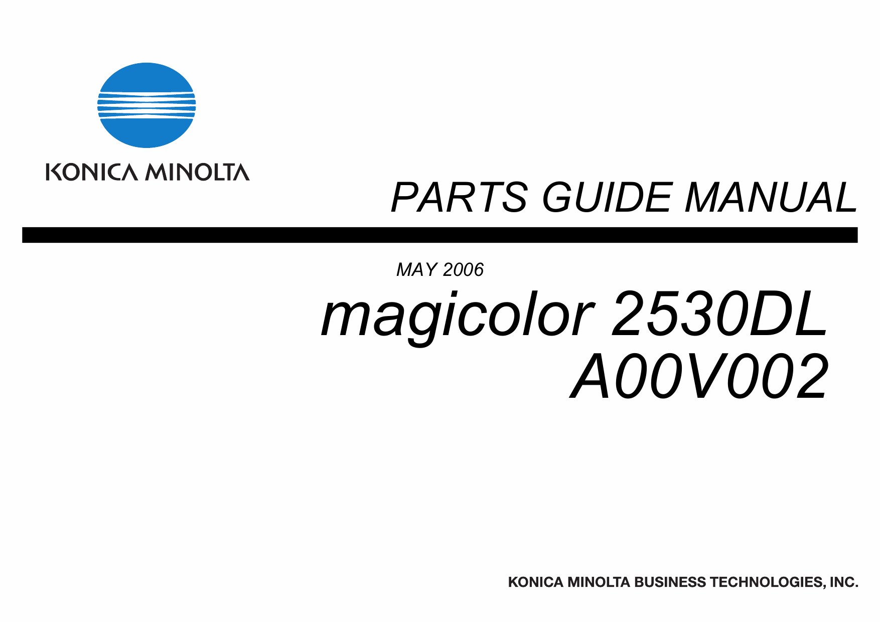 Konica-Minolta magicolor 2530DL Parts Manual
