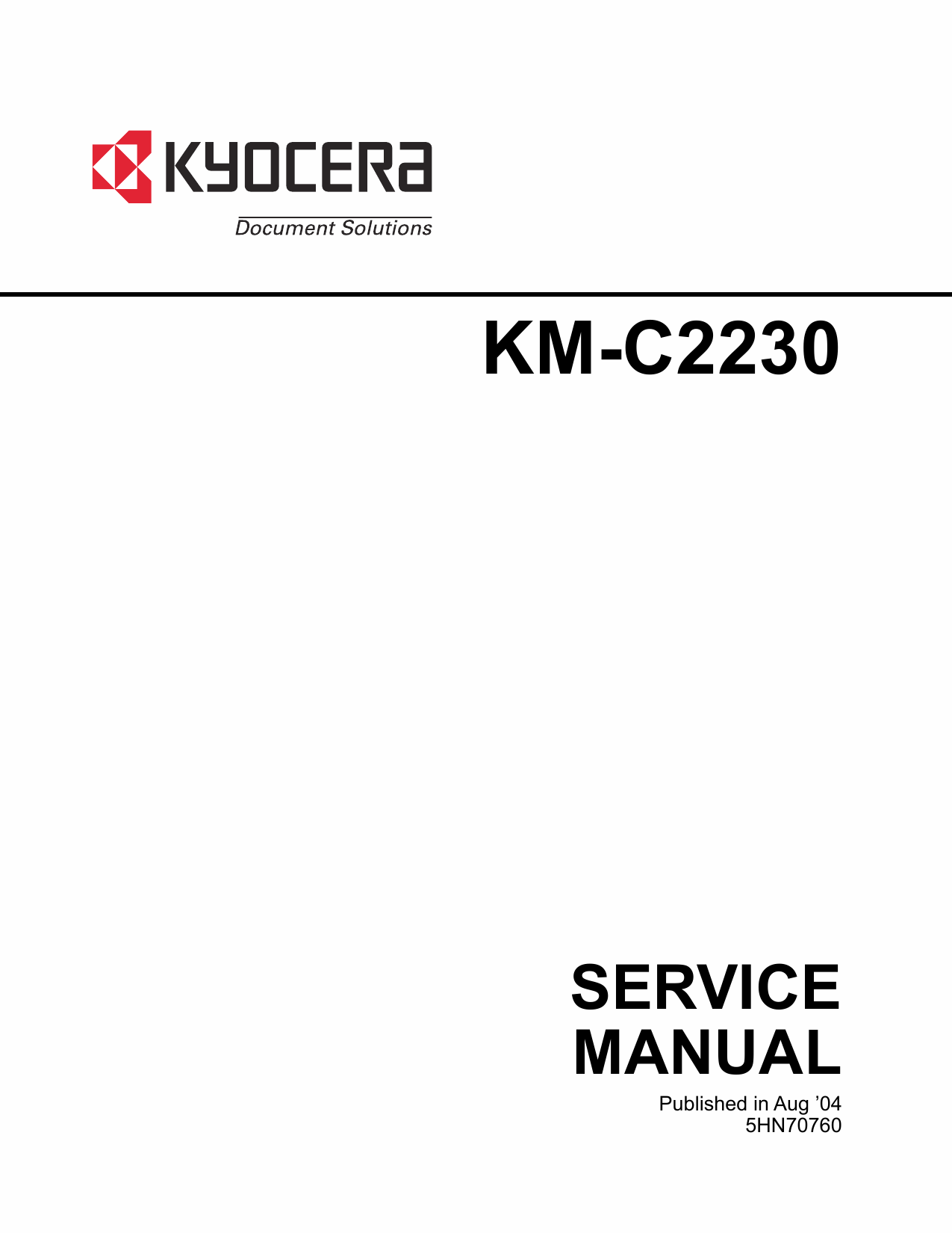 KYOCERA ColorCopier KM-C2230 Parts and Service Manual