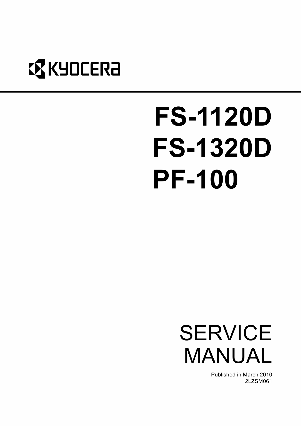 KYOCERA LaserPrinter FS-1120D FS-1320D PF-100 Parts and