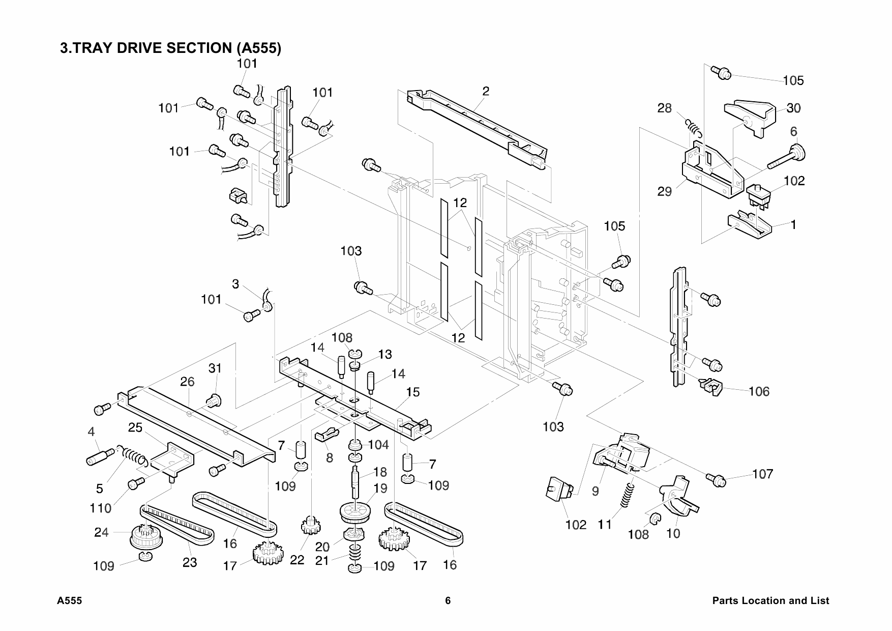 RICOH Options A555 10-BIN-SORTER-STAPLER Parts Catalog PDF
