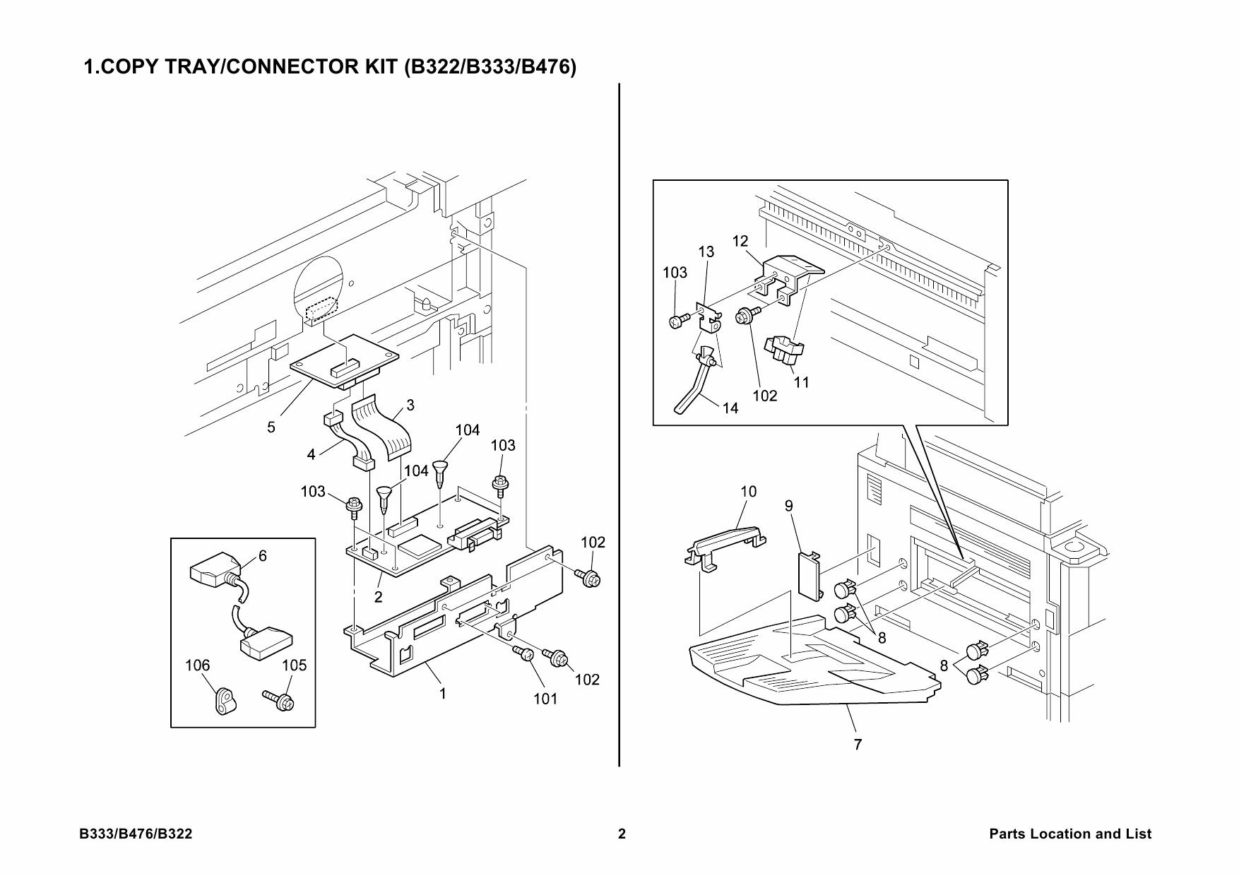 RICOH Options B333 COPY-TRAY-TYPE-700-1075 Parts Catalog