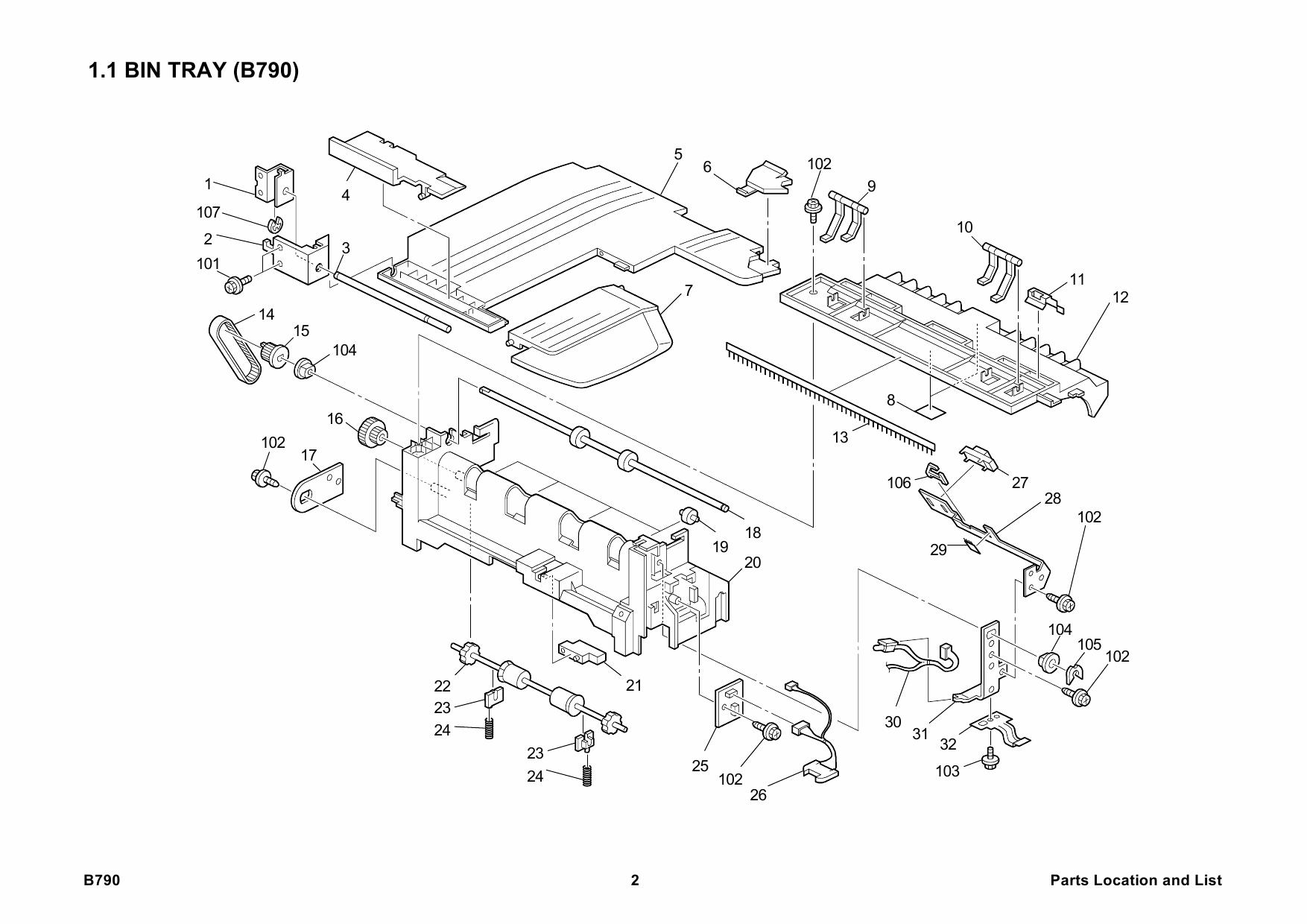 RICOH Options B790 INTERNAL-SHIFT-TRAY-SH3000 Parts