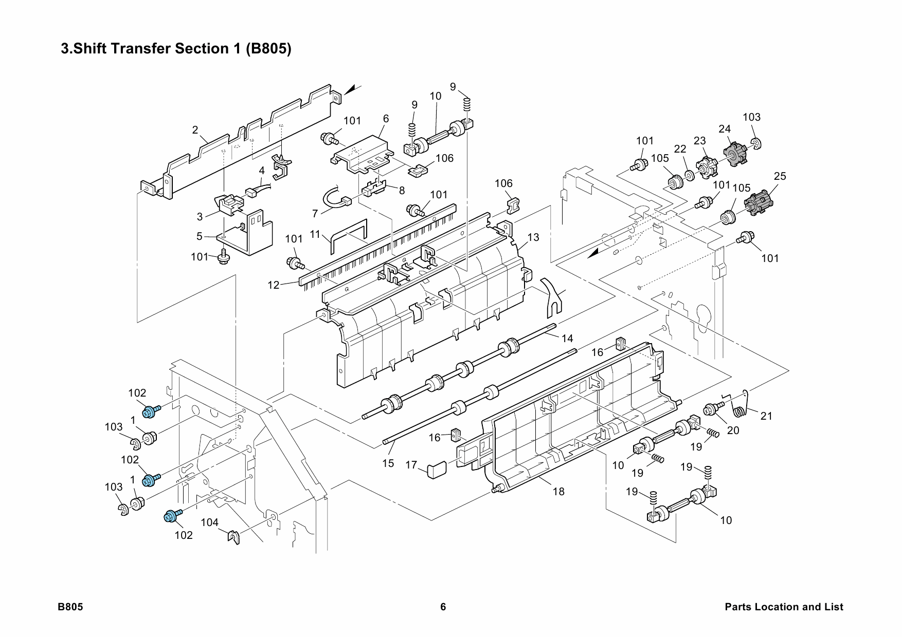 RICOH Options B805 FINISHER-SR3030 Parts Catalog PDF download