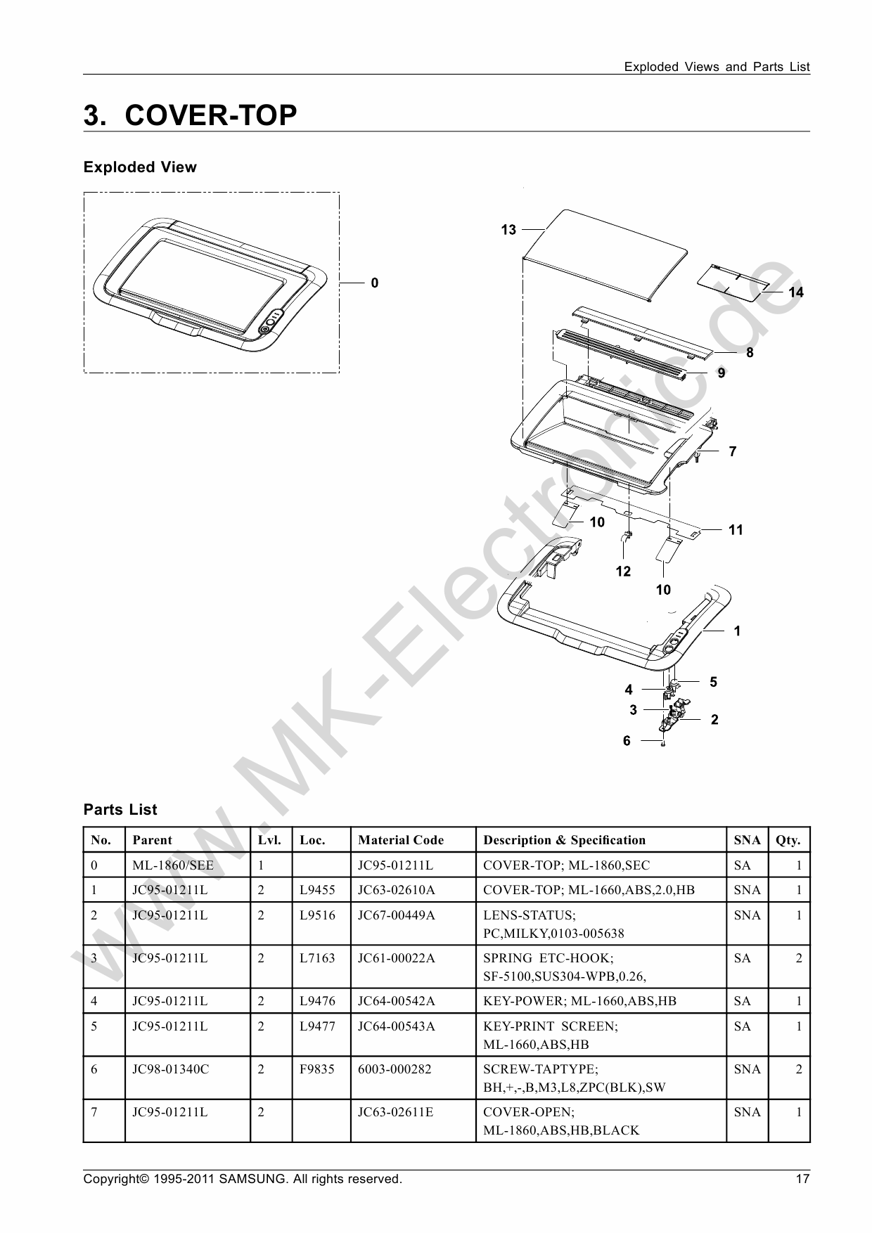 Samsung Laser-Printer ML-1860 Parts Manual