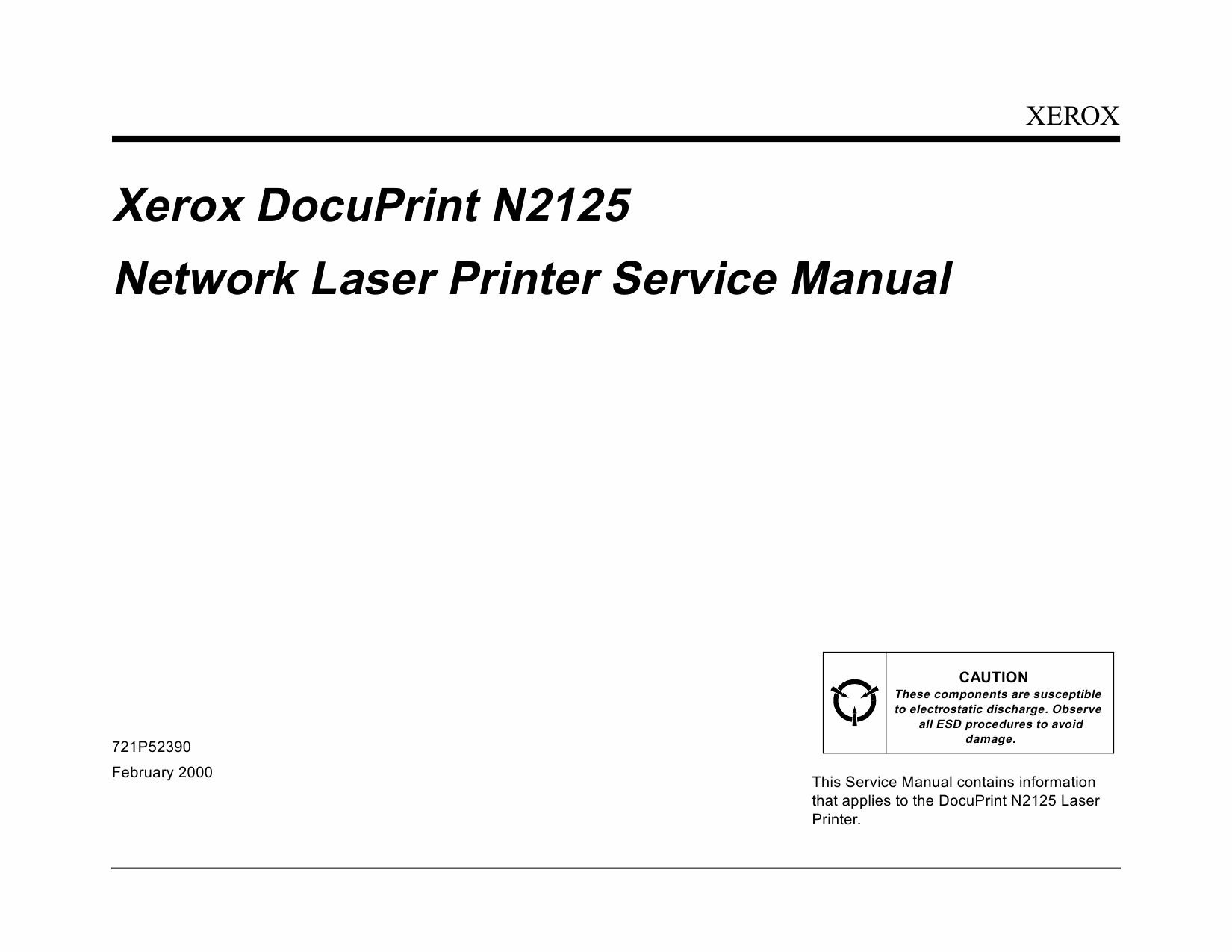Xerox DocuPrint N2125 Service Manual