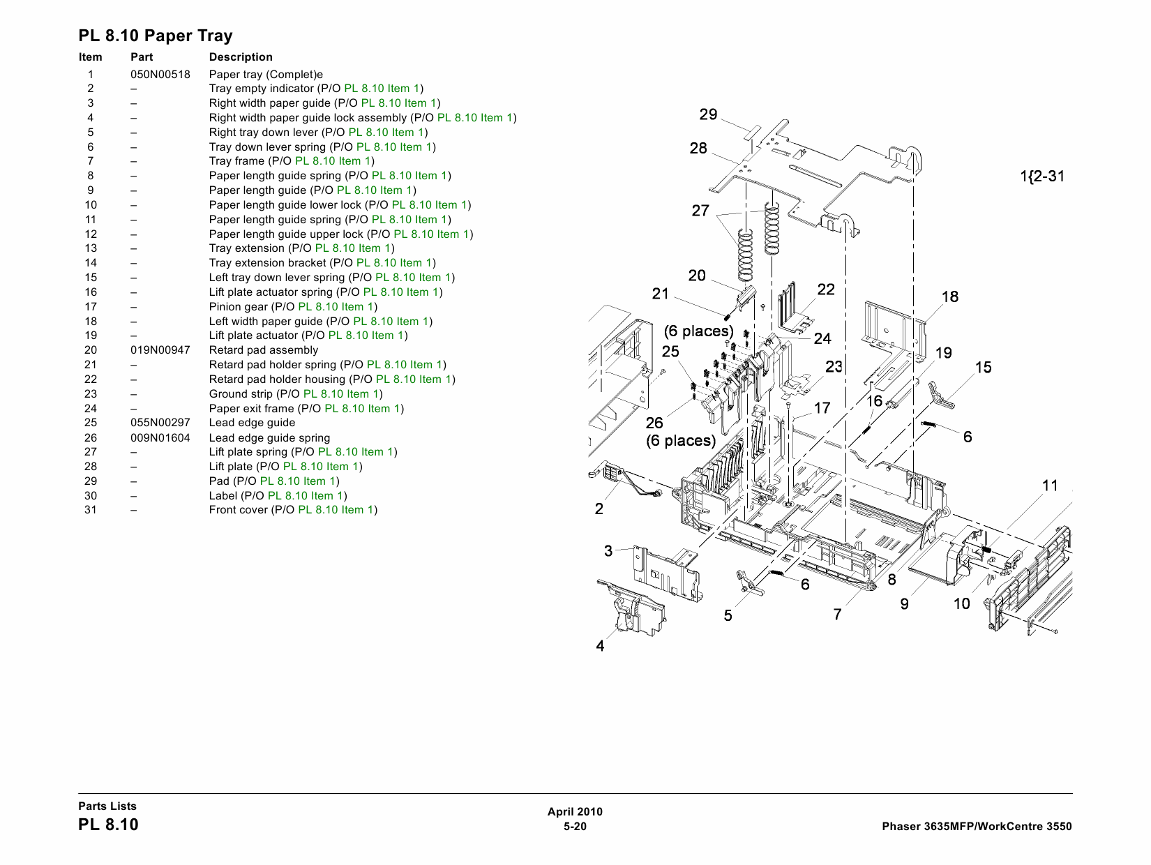 Xerox Phaser 3635-MFP WorkCentre-3550 Parts List Manual