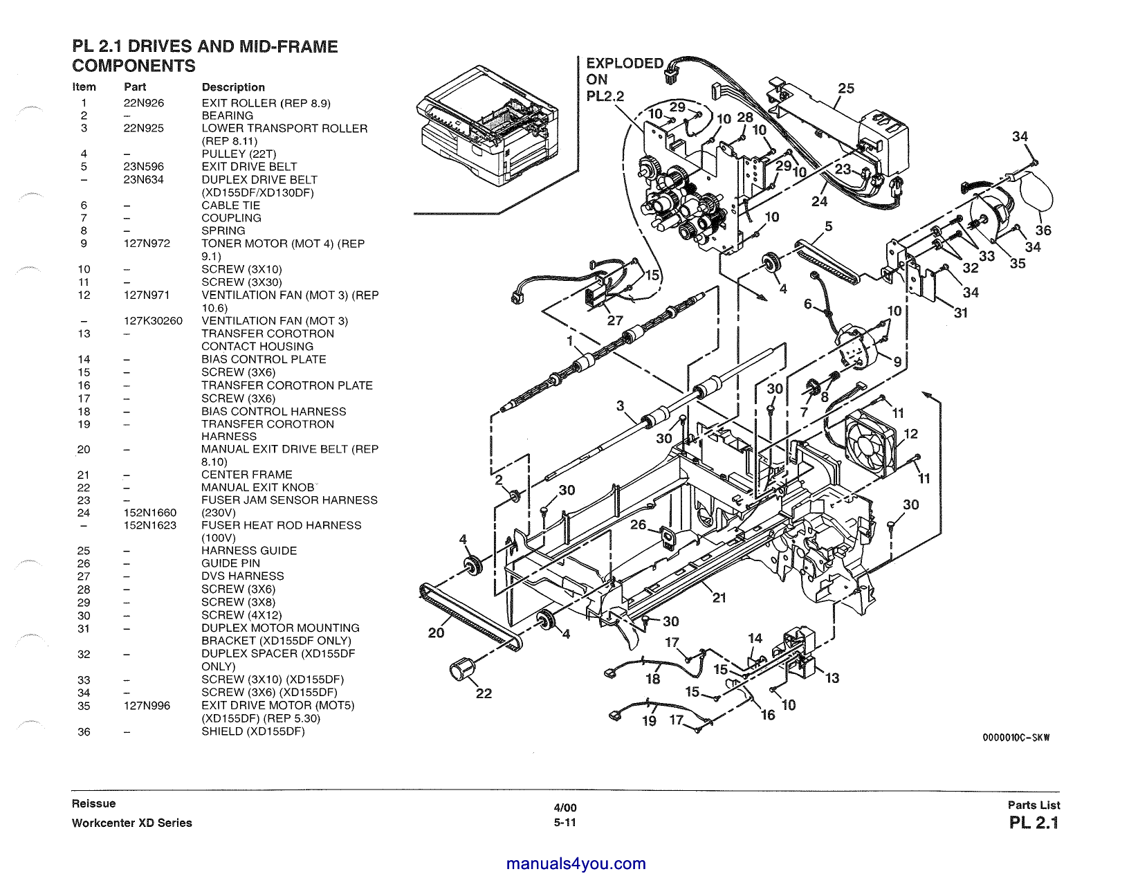 Xerox WorkCentre XD Series Parts List and Service Manual