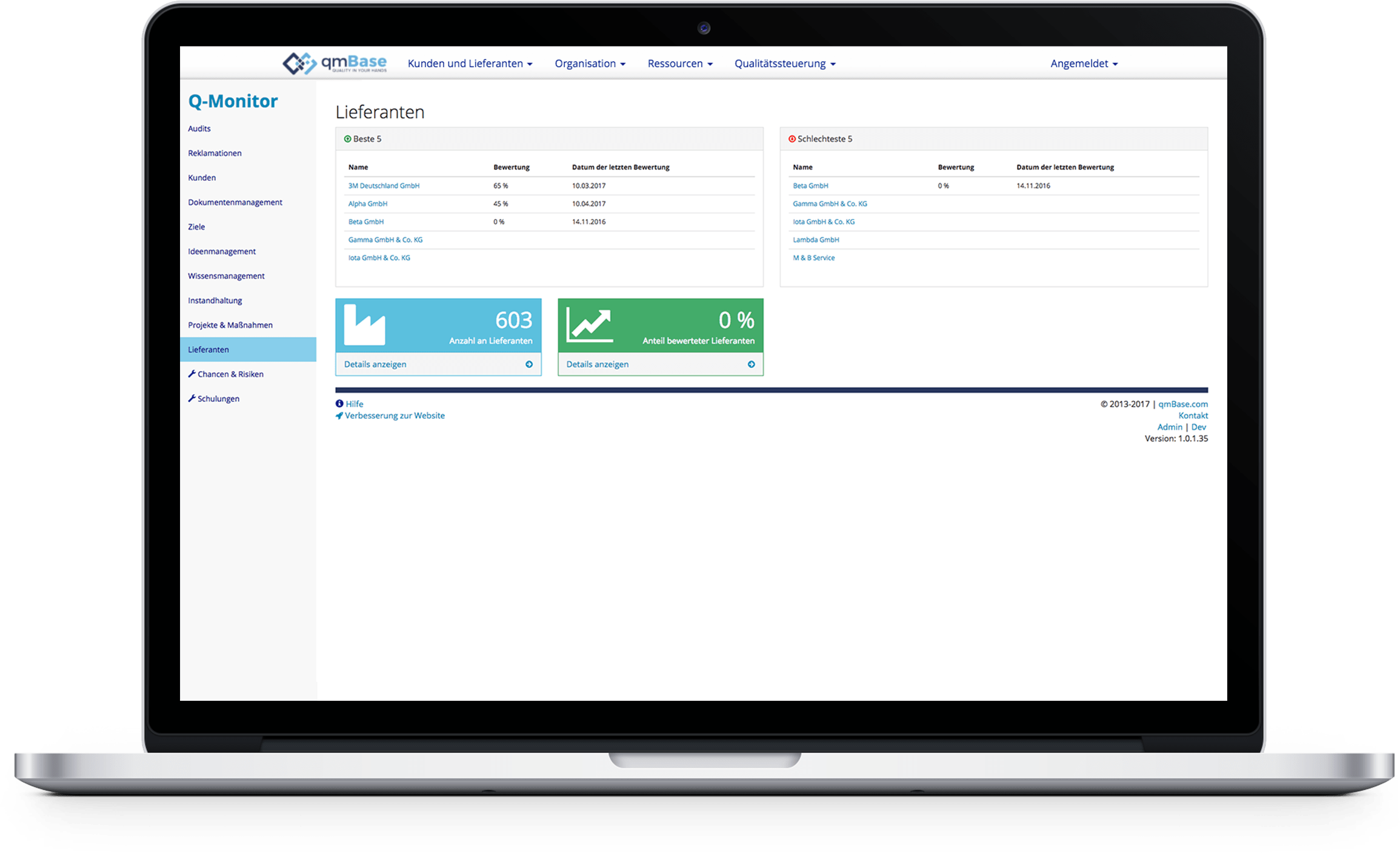 Evaluation of the supplier management in the quality dashboard