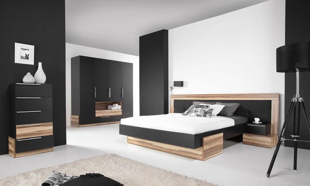 Schlafzimmer Set Montana Schwarz  QMM TraumMoebel