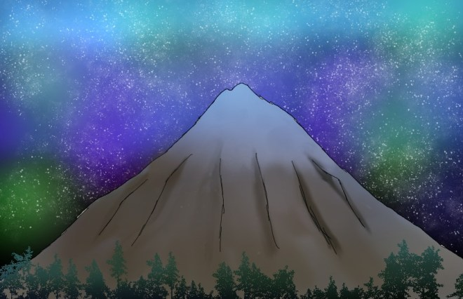 A mountain surrounded by trees and a starry night