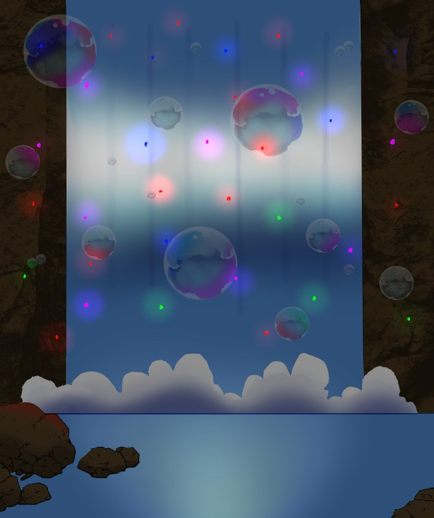 Waterfall with bubbles and colourful fireflies in a cave