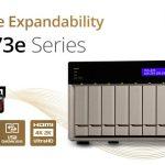 QNAP、AMD RX-421BDクアッドコアAPU、デュアルPCIeスロット、M.2 SSDスロットを搭載し、4Kビデオトランスコーディングおよび再生に対応したTVS-x73e 4/6/8ベイNASを発表