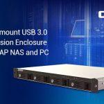 QNAPがNAS、PC、サーバーに使える4ベイ1Uで奥行きの短いラックマウント型RAIDストレージ拡張デバイスであるTR-004Uを発表