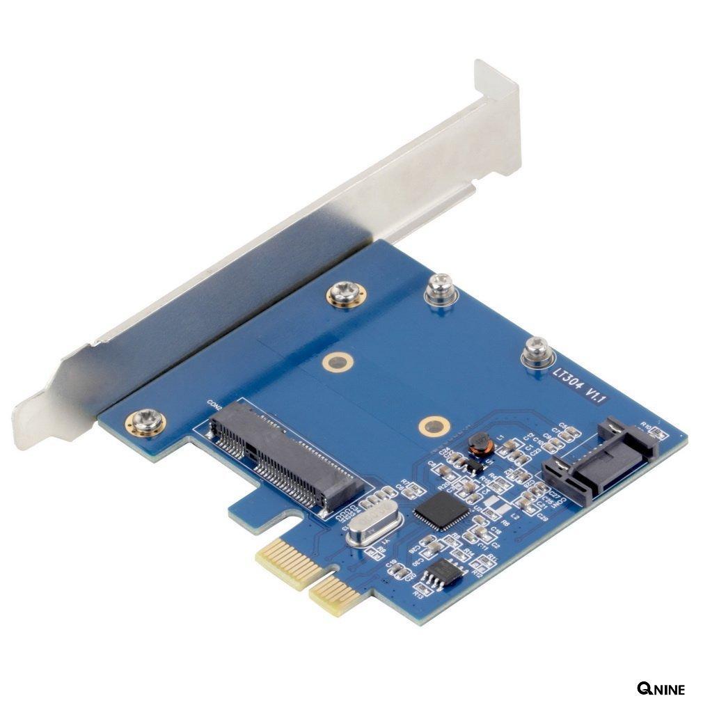 QNINE mSATA Mini PCI-E SATA 3.0 SSD & SATA 3.0 Combo Extender to PCI-E PCI Express Card 6.0Gbps ...