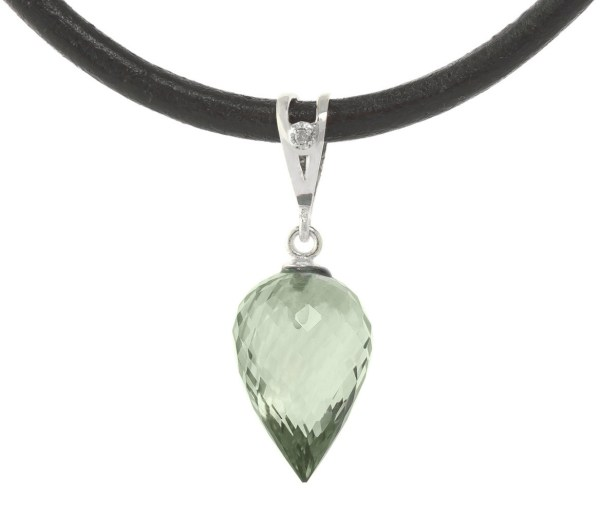 Green Amethyst Leather Pendant Necklace 9.51 Ctw In 9ct White Gold - 4739w Qp Jewellers