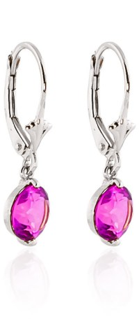 Pink Topaz Drop Earrings 3.1 ctw in 9ct White Gold