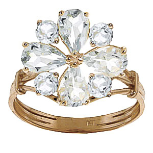 Aquamarine Sunflower Cluster Ring 2.43ctw in 9ct Gold