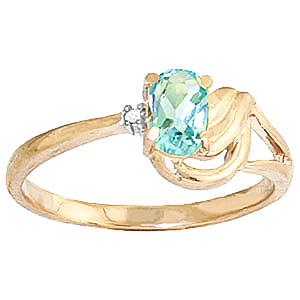 Aquamarine and Diamond Ring 0.45ct in 9ct Gold