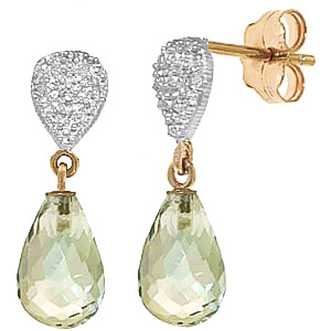 Green Amethyst and Diamond Droplet Earrings 4.5ctw in 9ct Gold