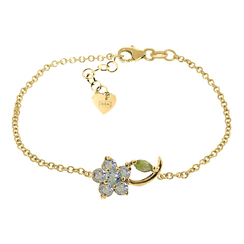 Aquamarine and Peridot Adjustable Flower Petal Bracelet 0.87ctw in 9ct Gold