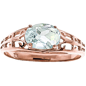 Aquamarine Catalan Filigree Ring 1.15ct in 9ct Rose Gold