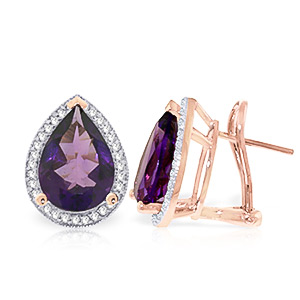 Amethyst and Diamond French Clip Halo Earrings 6.5ctw in 9ct Rose Gold