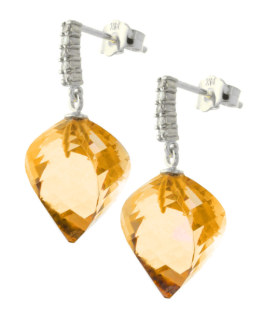 Citrine and Diamond Stud Earrings 23.5ctw in 9ct White Gold