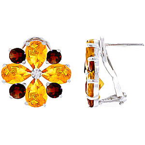 Citrine and Garnet Sunflower Stud French Clip Earrings 4.85ctw in 9ct White Gold