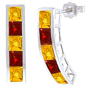 Citrine and Garnet Channel Set Stud Earrings 4.5ctw in 9ct White Gold
