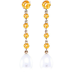 Citrine and Pearl by the Yard Drop Earrings 10.0ctw in 9ct White Gold