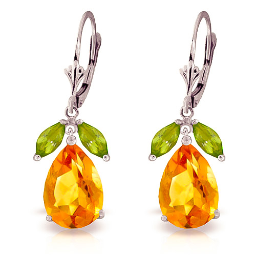 Citrine and Peridot Drop Earrings 13.0ctw in 9ct White Gold