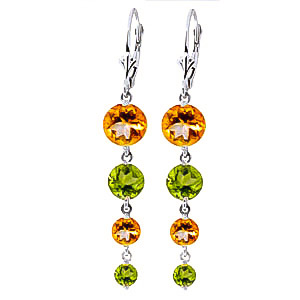 Citrine and Peridot Quadruplo Drop Earrings 7.8ctw in 9ct White Gold