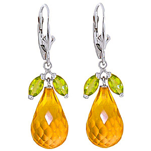 Citrine and Peridot Snowdrop Earrings 15.0ctw in 9ct White Gold