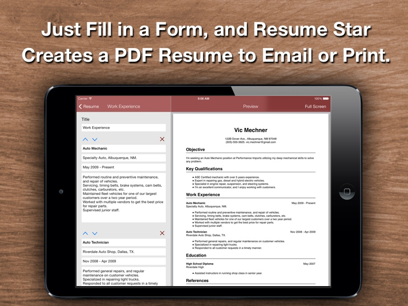 email template send resum