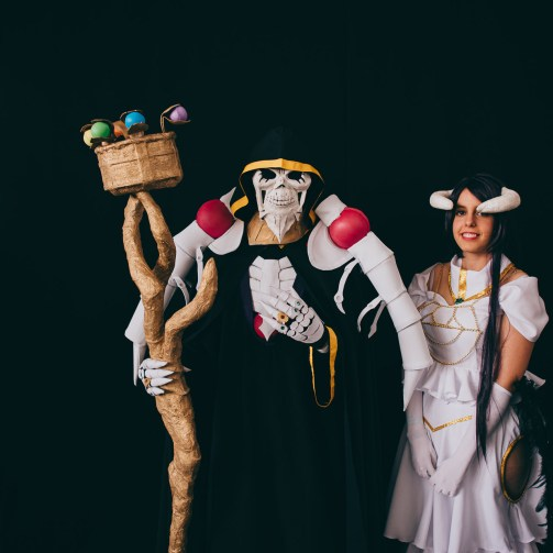 Ainz Ooal Gown, Overlord of Nazarick and Albedo, the Overseer of the Guardians