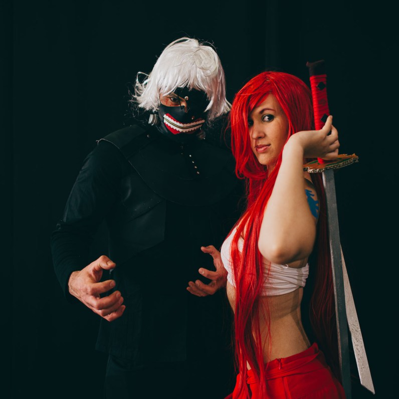 Ken Kaneki from Tokyo Ghoul and Erza Scarlett from Fairy Tail