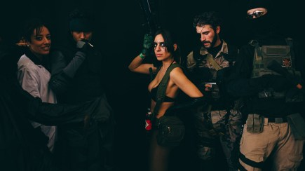 Naomi Hunter, Solid Snake, Quiet, Venom Snake, and friend from Metal Gear Solid